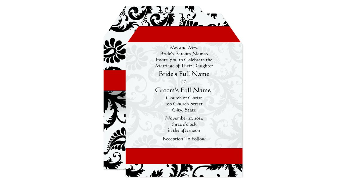 Wedding Invitations Sizes: New Sizes Damask Swirls Wedding Invitation