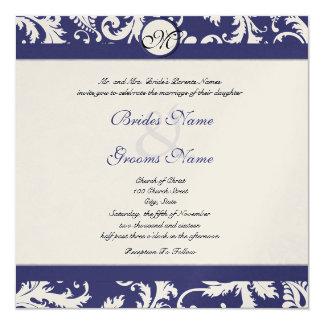 New Sizes  Navy Damask Swirls Wedding Invitation