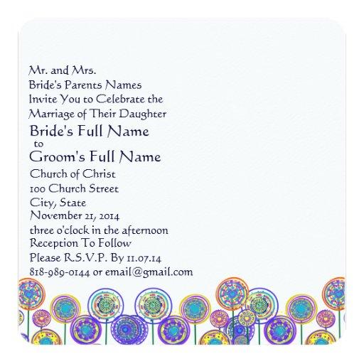 New Sizes Square Fun Flower Wedding Invitation