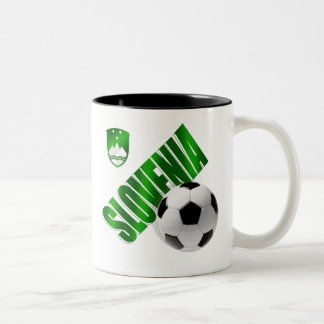 New Slovenia glossy green emblem soccer gifts Two-Tone Coffee Mug