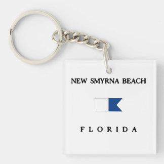 New Smyrna Beach Florida Alpha Dive Flag Double-Sided Square Acrylic Keychain