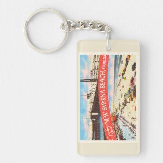 New Smyrna Beach Florida FL Old Travel Souvenir Double-Sided Rectangular Acrylic Keychain