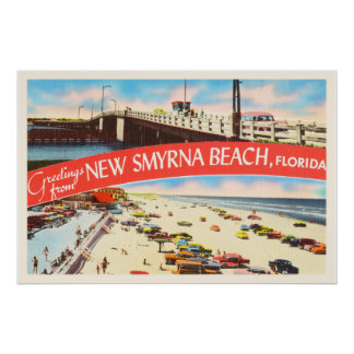 New Smyrna Beach Florida FL Old Travel Souvenir Poster