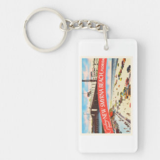 New Smyrna Beach Florida FL Old Travel Souvenir Single-Sided Rectangular Acrylic Keychain