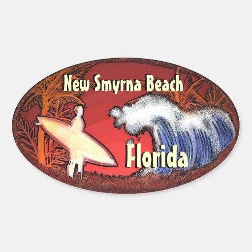 New Smyrna Beach Florida surfer waves stickers