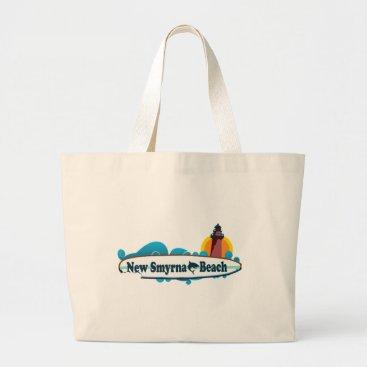 Beach Themed New Smyrna Beach. Large Tote Bag