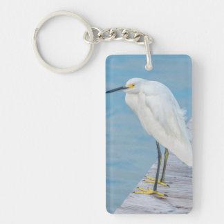 New Smyrna Beach, Snowy Egret on dock Double-Sided Rectangular Acrylic Keychain