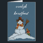 """new snow man Christmas card snow Netherlands<br><div class=""""desc"""">pretty Christmas play cards with an illustration of a small boy who makes a new snow man. cards for the complete family with Dutch text and exclusive design by frank glerum art.</div>"""