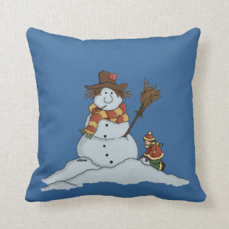 new snowman funny holiday pillow
