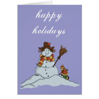 new snowman greetingcard w customisable background card