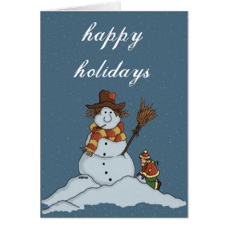 new snowman greetingcard w snowy background card