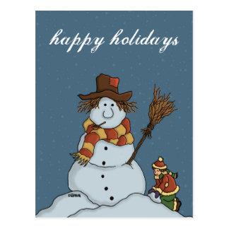 new snowman holiday postcard