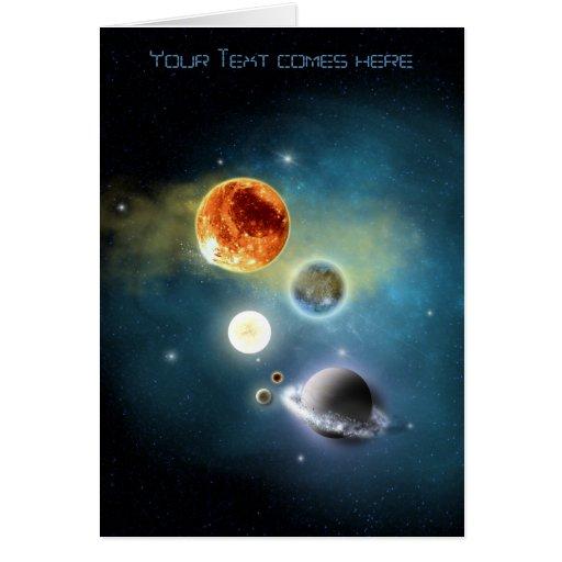 New solar system greeting card