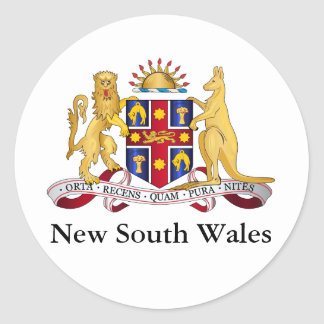 New South Wales coat of arms Round Stickers