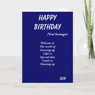 New Teenager Son Birthday Cards