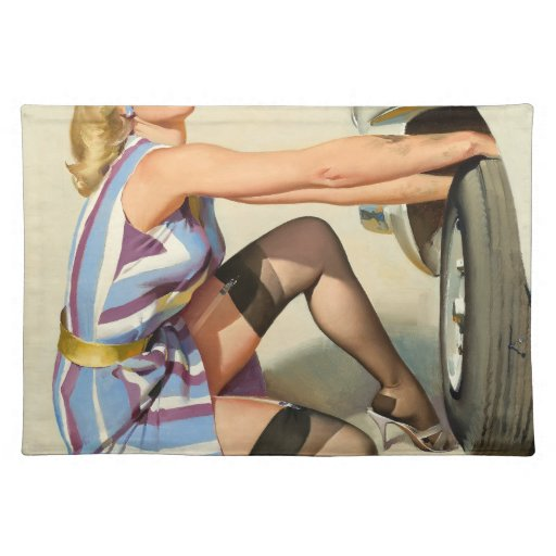 New Tire Pin-up Girl Cloth Placemat