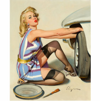 New Tire Pin-up Girl Statuette