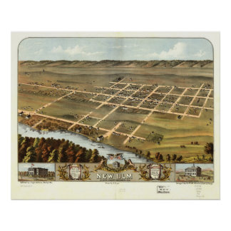 New Ulm Minnesota 1870 Antique Panoramic Map Poster