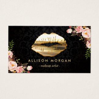 (New Version) 3D Gold Lips Makeup Artist Floral Business Card
