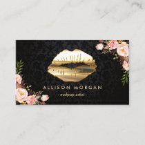 (New Version) Gold Lips Makeup Artist Floral Business Card