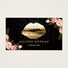 (new Version) Gold Lips Makeup Artist Floral Business Card at Zazzle