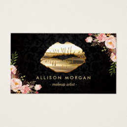 (New Version) Gold Lips Makeup Artist Floral Business Card