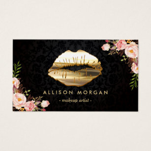 Lips business cards templates zazzle new version gold lips makeup artist floral business card reheart Images