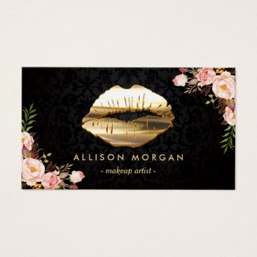 CardHunter (New Version) Gold Lips Makeup Artist Floral Business Card