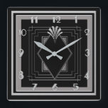 """New Very Art Deco (Silver/Black) Square Wall Clock<br><div class=""""desc"""">I have had a request to create this clock in Black and Silver gray. It is already in my store in black and gold and is very popular. So I am hoping it will be liked as much in these colors. A great wall clock measuring 10 inches square. A lovely...</div>"""