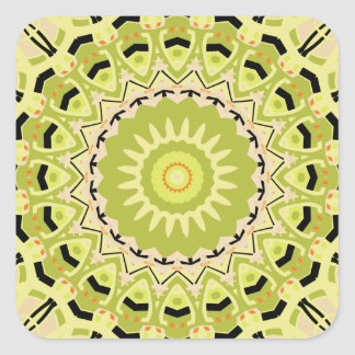 New Vintage Green and Black Kaleidoscope Square Sticker