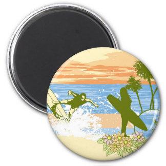 new vintage surfer hawaii beach girl boy 2 inch round magnet