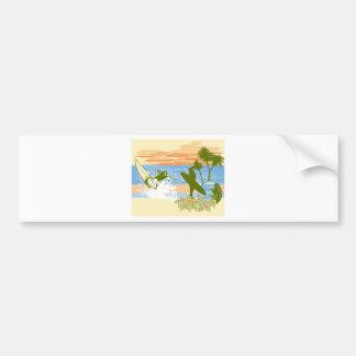 new vintage surfer hawaii beach girl boy bumper sticker