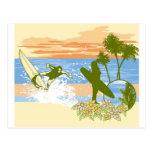 new vintage surfer hawaii beach girl boy postcard