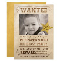 New Wanted Poster Cowboy Western Birthday Party Invitation