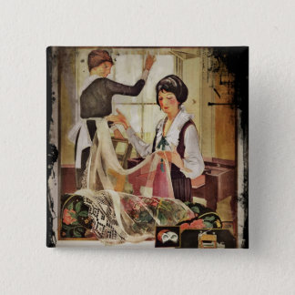 New Washing Machine Mother and Daughter Pinback Button