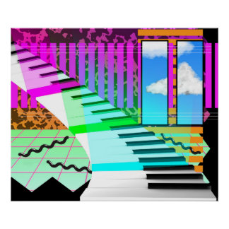 New Wave Piano Poster