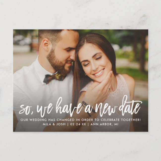 New Wedding Date | Brush Lettered Script Photo Announcement Postcard