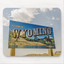 New Welcome to Wyoming Sign - State Borders Mouse Pad