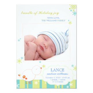 New Winter Baby Boy Flat Photo Birth Announcements