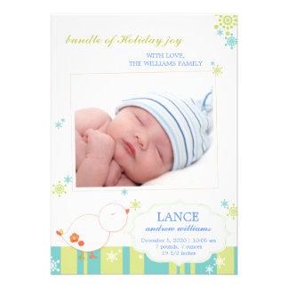 New Winter Baby Boy Flat Photo Birth Announcements Custom Announcement