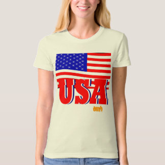 New Women Sports Red White & Blue USA Flag Tshirt