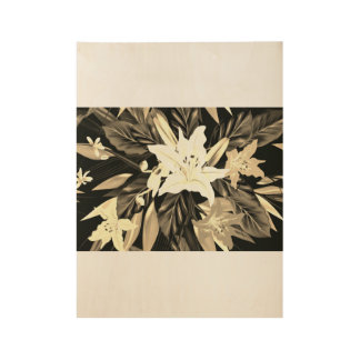 New wood Poster in shop : with exotic flowers