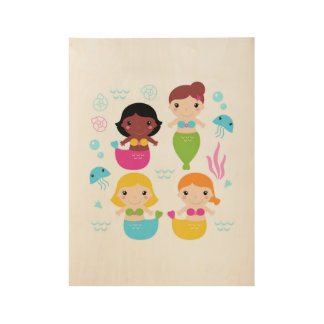 New wooden Kids poster : with mermaids