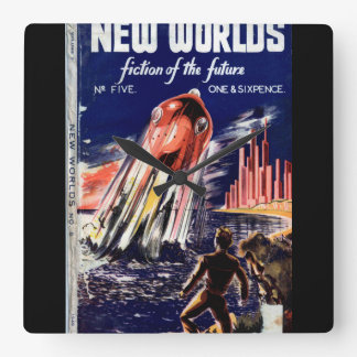 New Worlds 005 (1949.Nova)_Pulp Art Square Wall Clock