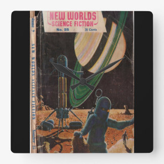 New Worlds 025 (1954-09.Nova)_Pulp Art Square Wall Clock