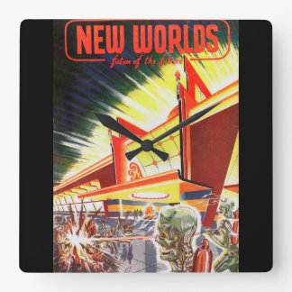 New Worlds 03 1952_Pulp Art Square Wall Clock
