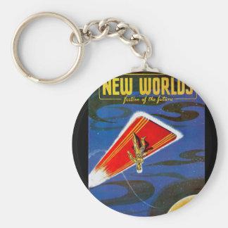 New Worlds 1951_Pulp Art Basic Round Button Keychain