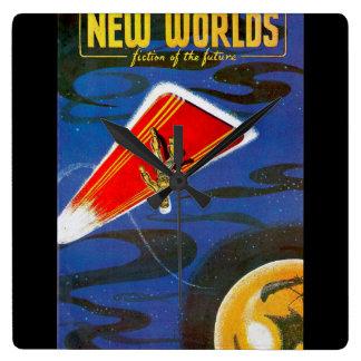 New Worlds 1951_Pulp Art Square Wall Clock