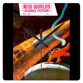 New Worlds 37_Pulp Art Square Wall Clock