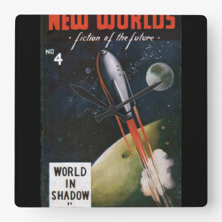 New Worlds 4_Pulp Art Square Wall Clock